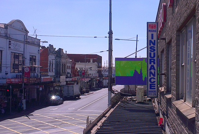 Public art Paintings in shop signs for footscray on the edge by Merryn Trevethan