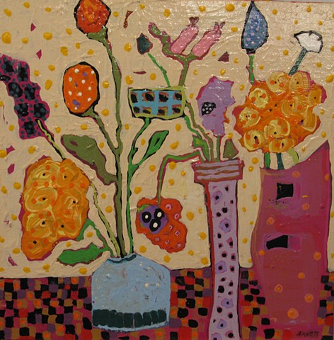 Whimsical painting of flowers. Edges painted orange with polka dots.