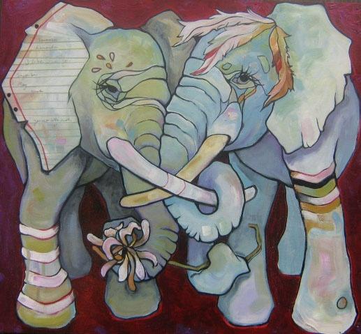 Two Elephants with Witch Hazel