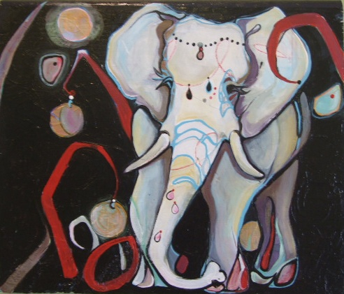 Elephant with the Red Grass