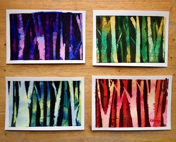 Watercolor Peek-a-Boo Trees