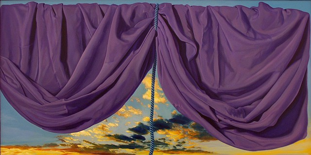 """The brain is wider than the sky"" by Pamela Sienna, 18"" x 36"" still life oil painting, draped cloth held up by cord across sky, title from Emily Dickinson poem, drapery, contemporary realism"