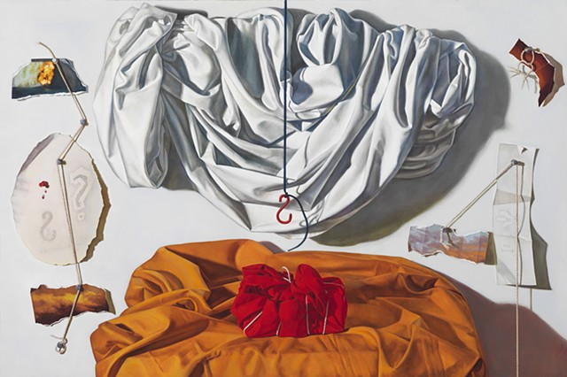 """Wrapped (across an arc of time)"" by Pamela Sienna, 24"" x 36"" oil painting still life with draped white cloth, wrapped cloth, trompe l'oeil string, tacks, paper scraps, contemporary realism"
