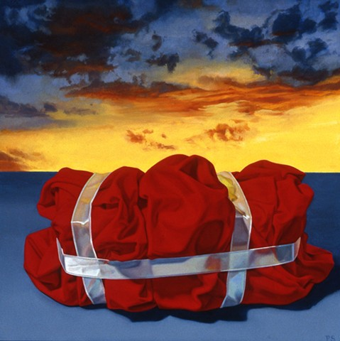 """We Wonder"" by Pamela Sienna, 12"" x 12"" oil painting, wrapped cloth with ribbon, sunset sky, contemporary realism, still life"