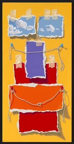 Pamela Sienna trompe l'oeil oil painting of paper