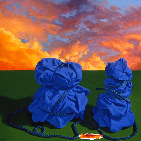 """Confluence"" by Pamela Sienna, 12"" x 12""  oil painting still life of cloth bound by cord, bright sunset sky with clouds, contemporary realism"