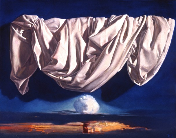 """Surrender"" by Pamela Sienna, 11"" x 14"" oil painting still life of white draped cloth and atomic bomb cloud, contemporary realism"