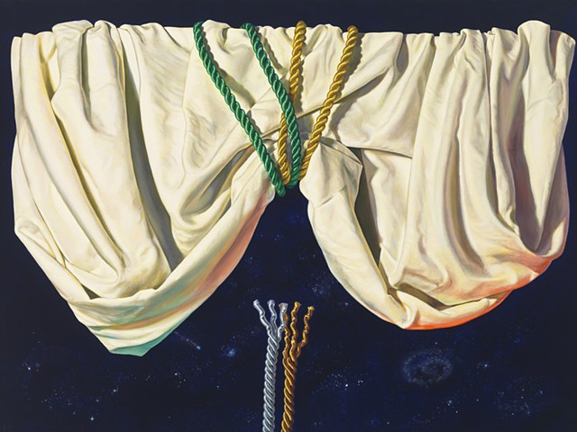 """Falling"" by Pamela Sienna, 18"" x 24"" oil painting, still life, draped cloth and satin cords, drapery across night sky with stars, contemporary realism"