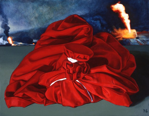 Pamela Sienna still life oil painting of wrapped bound cloth with fire
