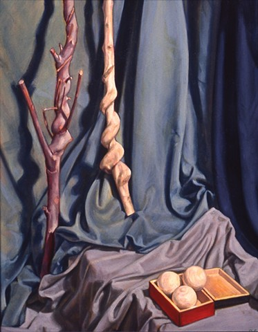 Pamela Sienna oil painting still life of sticks and cloth, realism