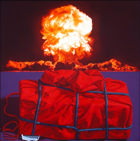 Pamela Sienna, oil painting still life of cloth with explosion, atomic blast