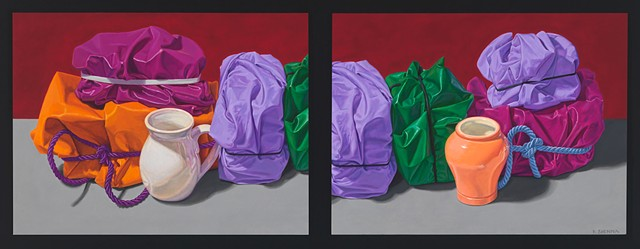 Eight Close memories (visual stutter) by Pamela Sienna - oil still life painting of cloth, diptych painting, contemporary realism