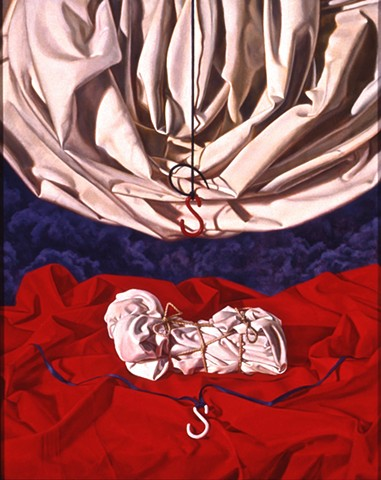 """Between Question and Reflection"" by Pamela Sienna, 20"" x 16"" oil painting, still life of draped cloth and wrapped cloth with dark smoke, contemporary realism"
