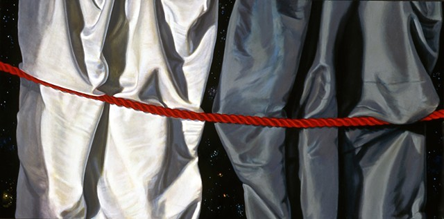 """Curtains #1"" by Pamela Sienna, 12"" x 24"" oil painting, still life of cloth drapery with cord, night sky with stars, contemporary realism"