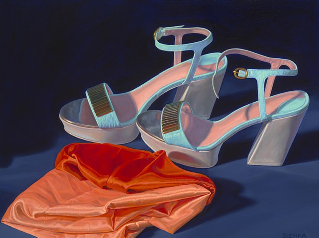 Never Worn (Siriano sandals from 2013) by Pamela Sienna - Christian Siriano shoes, still life painting, platform sandals, cloth, contemporary realism