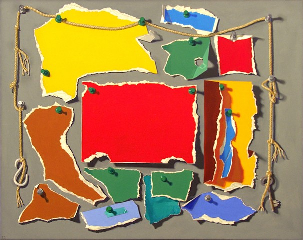 Pamela Sienna trompe l'eoil oil painting, painting of paper