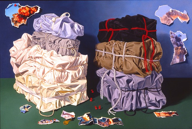 """Causes and Effects""  by Pamela Sienna - 24"" x 36"" - oil painting of cloth towers with torn paper, contemporary still life painting"