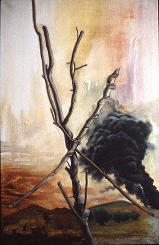 Pamela Sienna oil painting branch and smoke