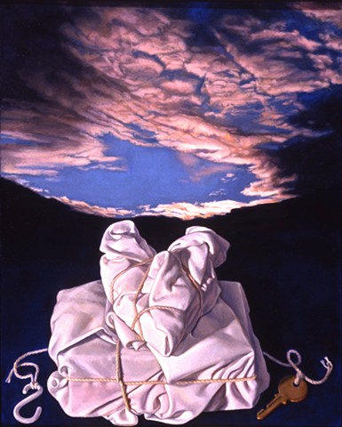 """Wrapped (the luxury of love)"" by Pamela Sienna, oil painting of cloth and sky, contemporary realist art, still life"