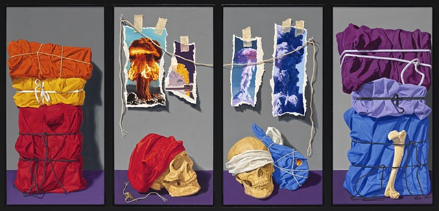 Pamela Sienna contemporary still life painting. Object Project, quadriptych, painting of cloth, skulls, explosions