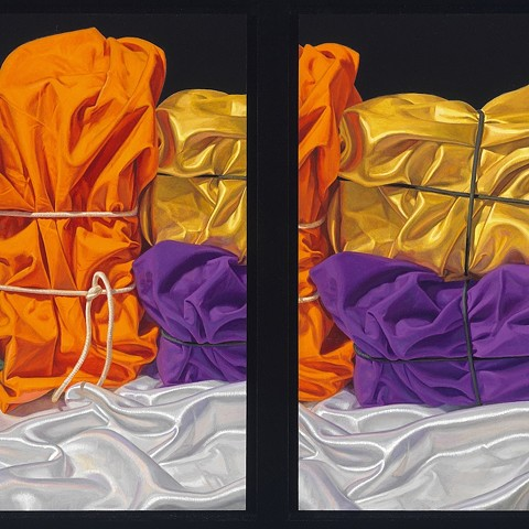 detail of still life painting by Pamela Sienna - diptych visual stutter painting of cloth