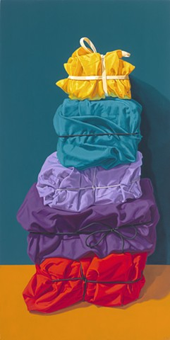 """Tall Stack"" by Pamela Sienna, 24"" x 12"" oil painting still life of cloth, tied and stacked, bright color, contemporary realism"