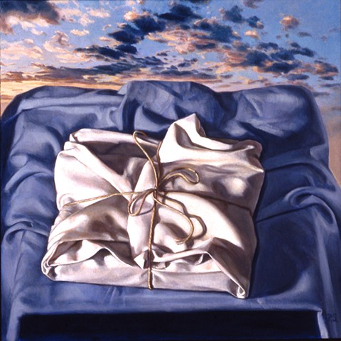 """""""Wrapped (what awaits)"""" by Pamela Sienna, 12"""" x 12"""" oil painting still life of cloth with sky, clouds, contemporary realism"""