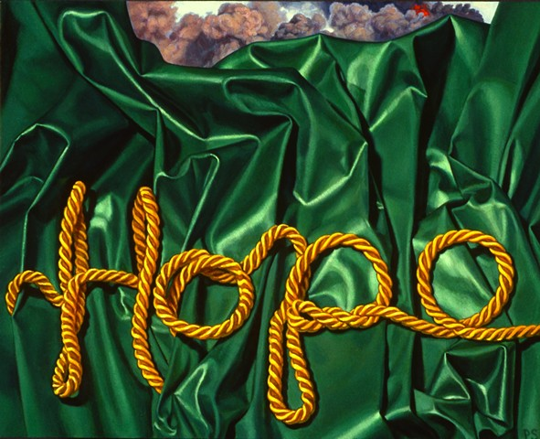 """Hope #2"" by Pamela Sienna, 8"" x 10"" oil painting of green cloth with gold cord spelling Hope, smoke in background, contemporary realism"