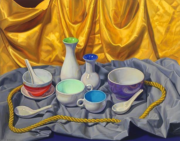 Circling the Still Life #1 by Pamela Sienna - still life oil painting of cloth, bowls, vases contemporary still life, woman painter