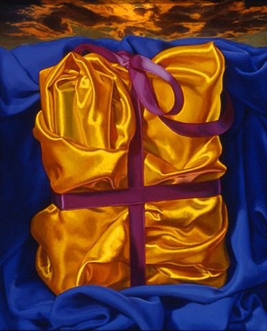 """Book #1"" by Pamela Sienna, 10"" x 8"" oil painting of gold satin cloth with purple ribbon, contemporary realism"