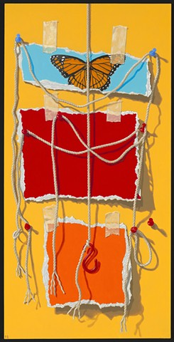 Pamela Sienna trompe l'oeil painting of paper, tape, string