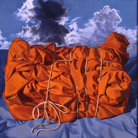 """Almost Possessed"" by Pamela Sienna, still life oil painting of cloth bound by string with clouds, contemporary  realism"
