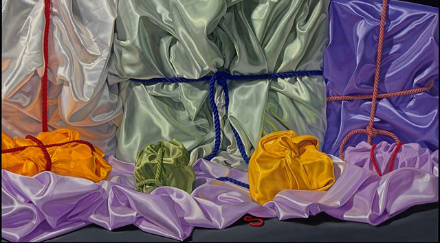 detail of oil painting of satin cloth by Pamela Sienna - Seven Ways to Remember (visual stutter) triptych