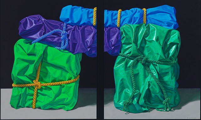 Four Balanced Memories (visual stutter) by Pamela Sienna - diptych oil painting of wrapped cloth, realism contemporary still life, green, blue, purple