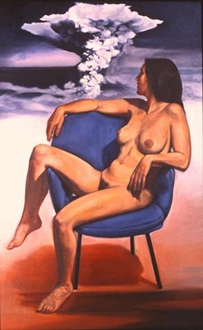 Pamela Sienna oil paintings of bodies and bombs, nude