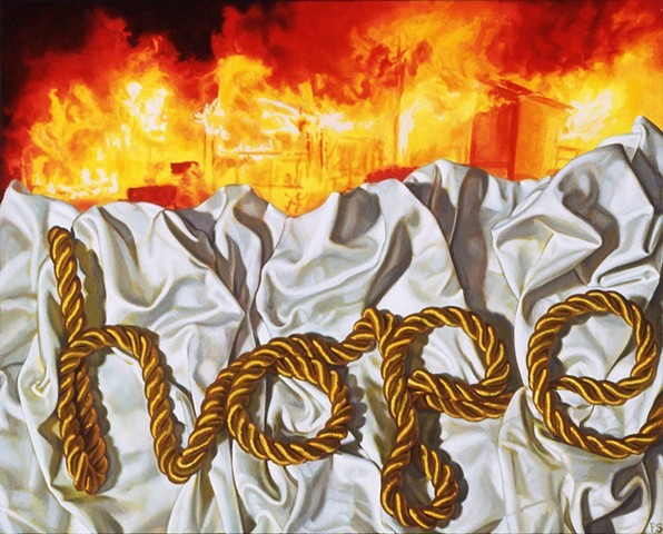 """Hope #4"" by Pamela Sienna, 11"" x 14"" still life oil painting with white cloth and cord spelling Hope and fire in background, contemporary realism"