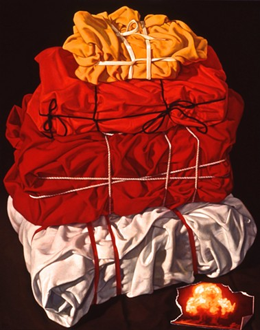 "Mass Build Up by Pamela Sienna - 20"" x 16"" oil painting of cloth wrapped and bound stack - hot color with atomic bomb on paper scrap"
