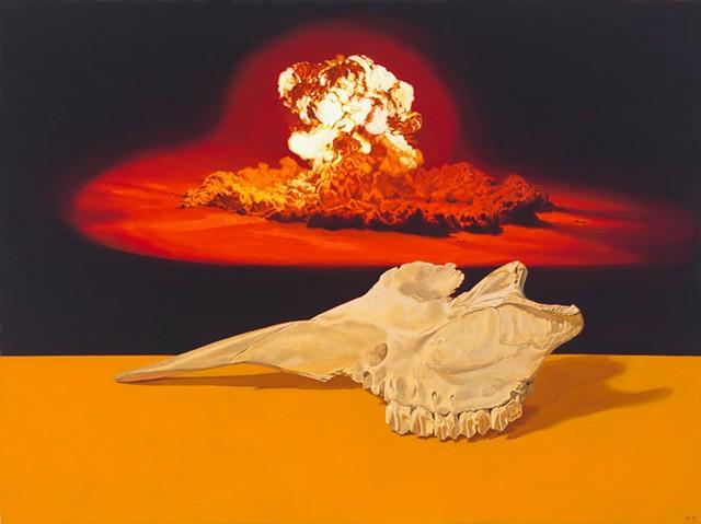 Pamela Sienna still life painting, cow skull, atomic bomb explosion