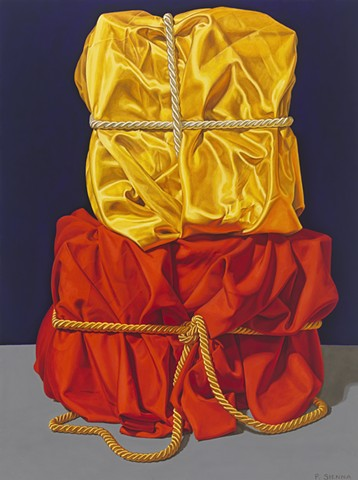 """Monument #2 by Pamela Sienna - 24"""" x 18"""" oil still life painting of cloth, yellow satin and rust orange rayon cloth with cords, contemporary realism"""