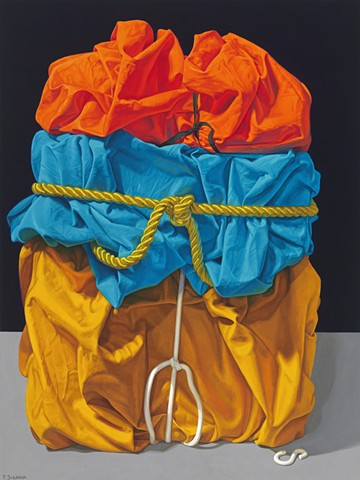 Monument #1 by Pamela Sienna, oil painting, still life, cloth, wrapped, cord, orange, blue, gold, woman painter, realism, realist painting