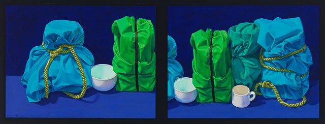 Six Floating Memories (visual stutter) by Pamela Sienna - diptych oil still life painting of cloth, cords and cups, blues and greens