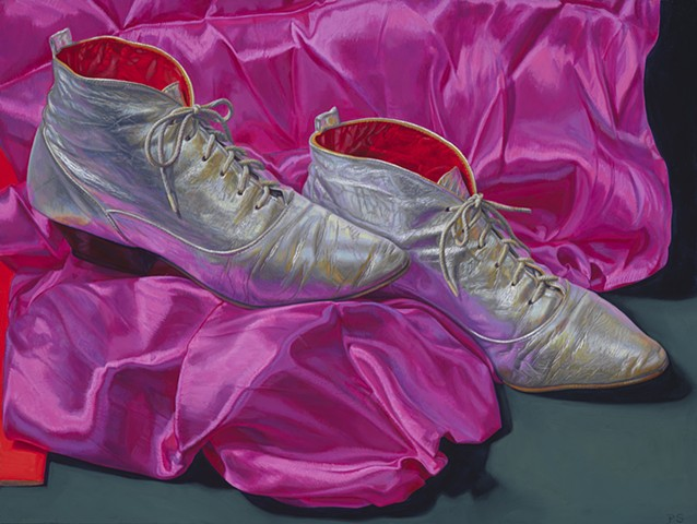 Well Worn (silver boots from 1986) by Pamela Sienna -oil painting, wardrobe, still life, silver boots, cloth, clothes, shoes