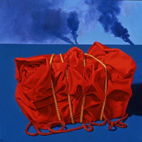 Pamela Sienna oil painting of cloth package bound by cords, with smoke on the horizon