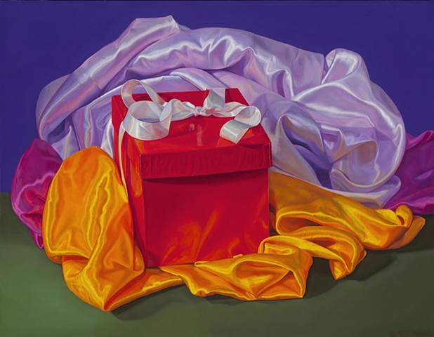 gift and satin cloth, realist still life, Pamela Sienna