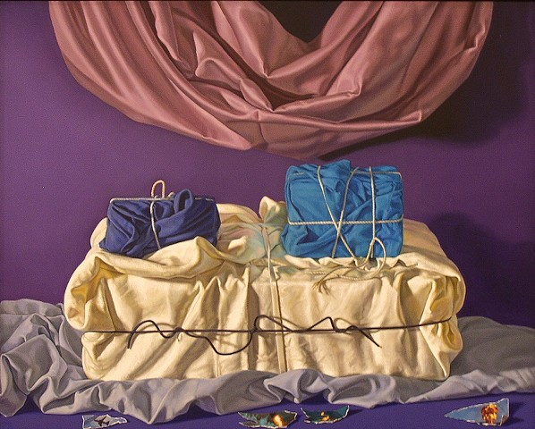 """Secrets of Civilization #2"" by Pamela Sienna, 16"" x 20"" still life painting of cloth, tied and stacked plus drape and scraps of paper, contemporary realism"