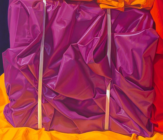 "detail of oil painting by Pamela Sienna, ""Packed"" drapery, wrapped cloth, fuchsia polished cotton"