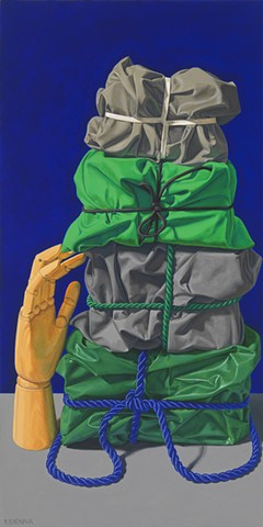 """Touch"" by Pamela Sienna, 24"" x 12""  oil painting, still life of cloth tied by cord and stacked with wooden hand, contemporary realism"