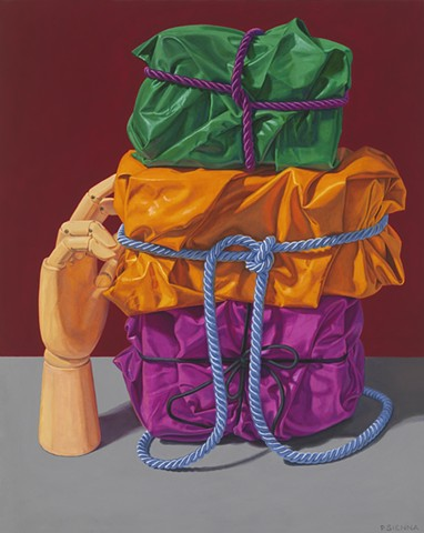 """""""Prop"""" by Pamela Sienna, 20"""" x 16"""" oil painting, still life of cloth tied with cord and stacked, with wooden hand, contemporary realism"""