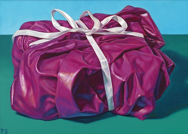 """Gift for Tomorrow #2"" by Pamela Sienna, oil painting of purple polished cotton cloth tied with ribbon, contemporary realism"