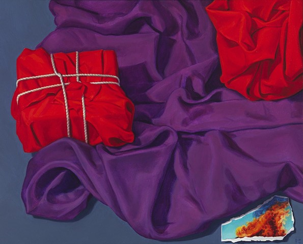 """""""What was put aside"""" by Pamela Sienna, 8"""" x 10"""" still life oil painting of red and purple cloth, scrap of paper with fire, contemporary realism"""